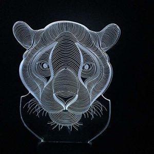 Intéressant et créatif à changement de couleur stéréo lampe de table 3D animal lion maison décoration USB cadeau télécommande LED nuit lumière cadeau | veilleuse de produits pour bébé