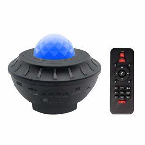 JXBH Lampe De Projecteur étoile, Haut-Parleur Bluetooth Veilleuse avec Télécommande Et Minuterie, Projecteur De Musique Ocean Wave Projecteur étoilé