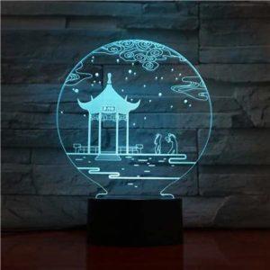 Lampe de table 3D 7 couleurs lampe de table de remplacement Lampe 3D veilleuse LED lumière cadeau Saint Valentin 1529
