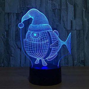 Led 7 Couleur Changeante Poisson 3D Lampe Usb Chapeau De Noël Veilleuse Lampe De Bureau Chevet Bébé Sommeil Lampes De Table Cadeaux Incroyables Pour Les Enfants