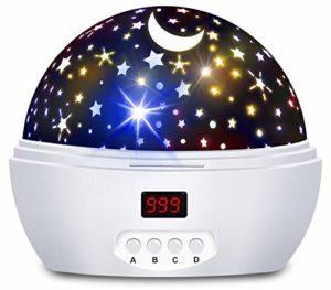 Projection veilleuse pour enfants et bébés, projecteur d'étoiles pour chambre de garçons et filles avec minuteur