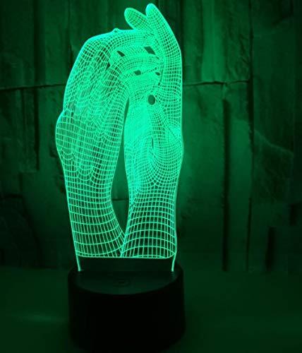 QHZCJ 3D Lampe Illusion Optique LED Veilleuse Mains Veilleuse Enfant,Decoration Anniversaire Cadeau Noël pour Bébé Enfant Ado Femme Homme [Classe énergétique A+++]