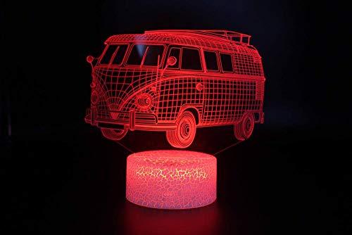 QHZCJ 7 couleurs Illusion Optique Lampe Autobus LED Contrôle Tactile,Veilleuse Enfant Chambre Chevet Table de Fille Fils Cadeau Anniversaire Surprise Deco Ambiance Créatif