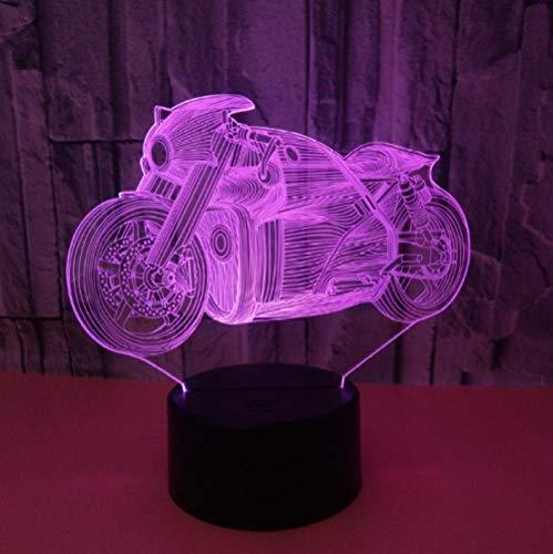 QHZCJ Lampe 3D Illusion Veilleuse moto Optiques Illusions Lampe de Nuit 7 Couleurs Tactile Lampe de Chevet Chambre Table Art Déco Enfant Lumière de Nuit avec Câble USB,