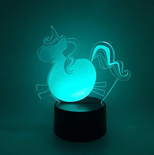 QHZCJ Veilleuse 3D pour Enfants Licorne Lampe LED USB Veilleuse Illusion lumière de Table aux Couleurs Changeantes avec Télécommande pour Enfants Adultes Chambre Décor