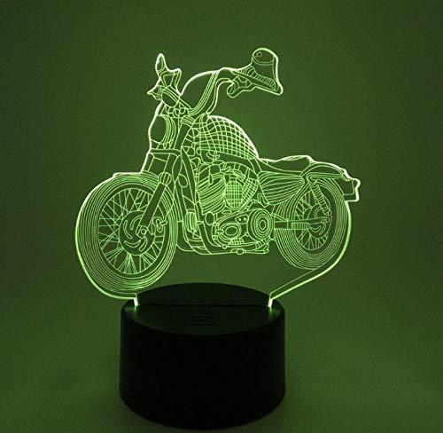 QHZCJ Veilleuse 3D pour Enfants Rétro et moto Lampe LED USB Veilleuse Illusion lumière de Table aux Couleurs Changeantes avec Télécommande pour Enfants Adultes Chambre Décor