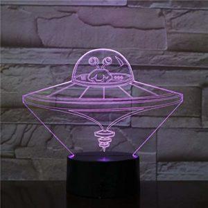 Soucoupe volante 3D – 7 couleurs LED – Veilleuse de table – Décoration de salon – Cadeau