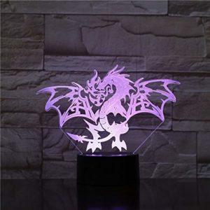 TYWFIOAV 3D lumière ambiance dragon occidental 7 couleurs avec télécommande ptérodactyle chevet 3D LED veilleuse adolescent