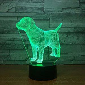 TYWFIOAV 3D veilleuse de jour des enfants cadeau de chien de compagnie LED 7 couleurs USB lampe de table
