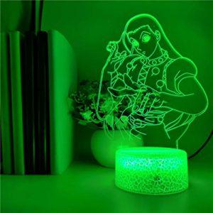 TYWFIOAV Veilleuse Acrylique anime Luffy image une batterie USB pour la décoration de la chambre des enfants 3D une horloge siège lampe de table