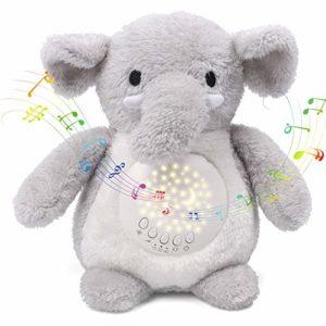 Umitive Aide au Sommeil pour Bébé, 15 Berceuses Bruit Blanc, 3 Effets Lumineux Projecteur Veilleuse, l'éléphant Peluche Musicale Lavable with Minuterie Automatique pour Poussettes ou Lit Bébé