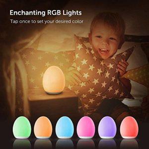 VAVA Veilleuse Bébé à LED 8 Couleur Réglables et Minuterie 1h Lampe de chevet en Silicone USB Rechargeable Contrôle Tactile avec Fonction Mémoire, LED Douce pour des Yeux