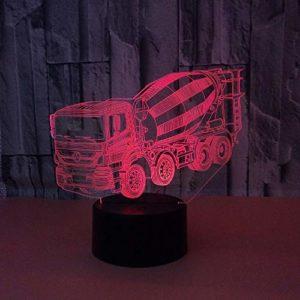 Veilleuse 3D Led D'Anniversaire Camion Malaxeur Led Bureau Table Lampe 7 Couleur Tactile Lampe Maison Chambre Bureau Décor Pour Enfants D'Anniversaire De Noël Cadeau