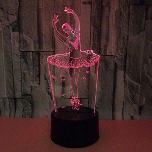 Veilleuse 3D Pour Enfants Ballet Lampe 3D Illusion Avec 7 Couleurs Changeantes Et Télécommande Cadeau D'Anniversaire Pour Garçon Enfants Chambre Décor