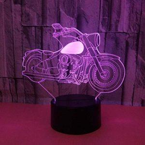 Veilleuse 3D Pour Enfants Moto Lampe 3D Illusion Avec 7 Couleurs Changeantes Et Télécommande Cadeau D'Anniversaire Pour Garçon Enfants Chambre Décor