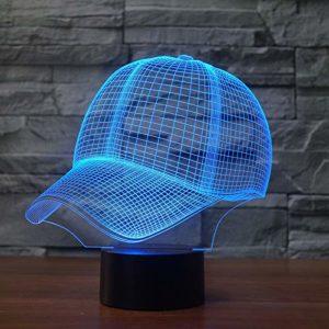 Veilleuse pour enfants,3D motif Forme de casquette de baseball pour chambre d'enfant chambre bébé anniversaire chambre salon décoration cadeau