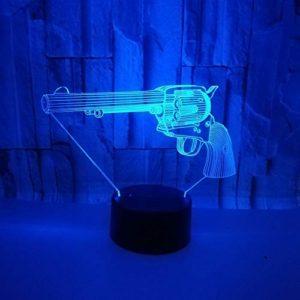 Veilleuse pour enfants,3D motif Forme de pistolet pour chambre d'enfant chambre bébé anniversaire chambre salon décoration cadeau