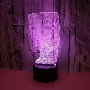 Veilleuse pour enfants,3D motif Masque abstrait pour chambre d'enfant chambre bébé anniversaire chambre salon décoration cadeau