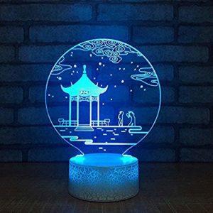 Veilleuse Tactile Usb 3D Led Créatif Décor À La Maison Chambre Chevet Pavillon Paysage Lampe De Table Nuit Lumière Vision Vacances Éclairage Bureau Enfants Cadeaux