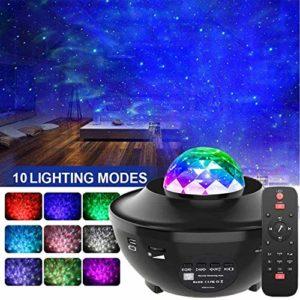 Vidéo Projecteur LED, Amouhom Veilleuse étoile Lampe de Rotatif Vidéoprojecteur de Nuage, Veilleuses Télécommandées, Lecteur Musique à Couleurs pour les fêtes de Noël, de pâques ou d'Halloween…