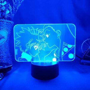 3D Lampe Illusion Zoldyck Famille Frères Killua & Irumi Silhouettes Veilleuse Chambre Chevet Bureau Coiffeuse Décor Lumière-télécommande