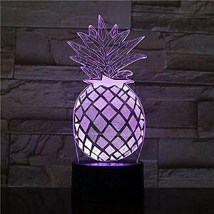 3D LED veilleuse ananas USB capteur tactile RBG nouveauté éclairage enfant enfants bébé cadeau Gadget fruit lampe de Table