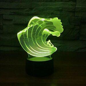7 couleurs changeantes LED 3D vague énorme modélisation lampe de Table enfants tactile USB surf veilleuse sommeil éclairage décor cadeau