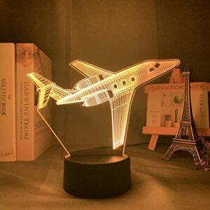 Acrylique 3d Illusion bébé veilleuse avion veilleuse pour enfants enfant garçon chambre décor coloré chevet lampe de table avion cadeau
