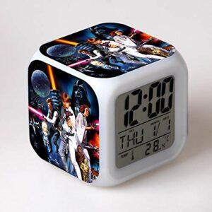 alicefen LED réveil 7 Changement de Couleur Film Horloge numérique électronique Bureau réveil Enfants Cadeau Jouet réveil Lampe