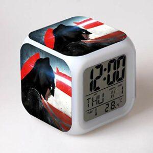 alicefen Réveil LED 7 Couleurs changeantes Horloge numérique électronique Bureau réveil Enfants Cadeau Jouet