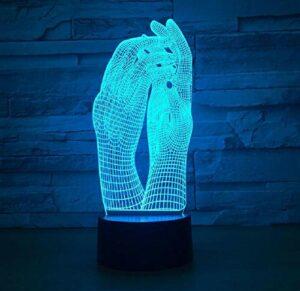 Amour deux mains belle lampe 3D LED veilleuse USB tactile lampe de Table décoration fête vacances éclairage intérieur Figure lampe