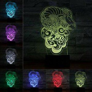 Animal mouton 3D LED ampoule tactile lampe à distance multicolore veilleuse enfants vacances cadeaux d'anniversaire décor à la maison abstrait acrylique lampar