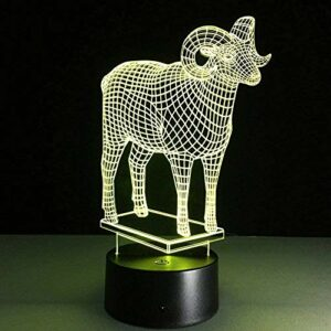 Baby Spielzeug La chèvre 3D LED Animal veilleuse USB Lampe de Table avec Interrupteur Tactile Acrylique coloré USB Lampe de Table pour Cadeau de noël
