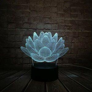 Cadeaux de petit ami lampe 3D veilleuse fleur de lotus 3D LED lampe USB mode atmosphère décoration de la maison multicolore changement veilleuse batterie sèche avec télécommande USB
