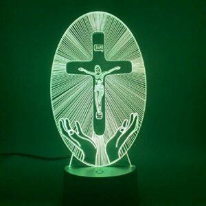 Christianisme Led veilleuse bureau jésus Station de Religion la croix visualisation Crucifix Bible coloré chrétiens 3d lampe