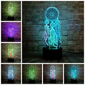 Creative plume vent carillon lampe 3D veilleuse chambre fête bureau décoration lampe noël fille cadeau 3D lampe de table