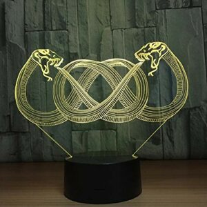 Creative serpent 3D veilleuse LED USB lampe de table 3D décoration intérieure lumière multicolore atmosphère lumière