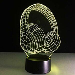 Creative Vision 3D stéréo veilleuse casque chaud lampe de bureau acrylique LED coloré USB batterie sèche alimentation à double usage