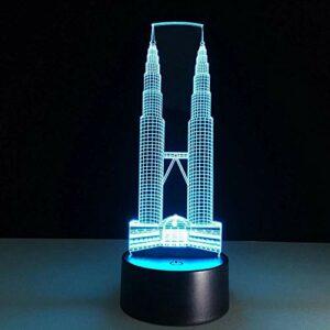 Double tour 3D lampe à LED nouvelle couleur changeante lampe de table bâtiment vision 3D veilleuse éclairage décoratif lampe de table