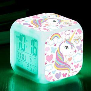Fonction enfants chiffres lumineux colorés Led réveil réveil veilleuse jouets accessoires affiche numérique pour enfants cadeau de noël licorne