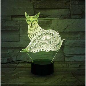 Fox Lampe 3D LED Veilleuses avec lampe de table tactile comme cadeaux pour enfants 7 couleurs Changement de décoration de fête à la maison USB ou alimentation de boîte de batterie