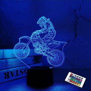 FULLOSUN – Veilleuse 3D pour enfants – Motocross – Pour Noël, les vacances, les anniversaires – Avec télécommande – 16 couleurs changeantes + 4 modes de changement d'intensité