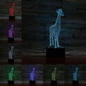 Girafe créative petite lampe de table LED acrylique 3D lumière visuelle créative veilleuse cadeau pour enfants chambre décoration lampe de table