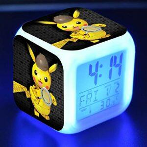 juntop Réveil veilleuse-réveil numérique Enfants Plomb Dessin animé détective Jouet coloré Brillant Vic Horloge de Bureau réveil lumière