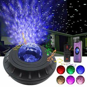 Lampe de projecteur étoile, projecteur de vague océanique en mouvement avec musique Bluetooth, projecteur de haut-parleur de lumière de nuit de rêve coloré avec fonction de minuterie à télécommande
