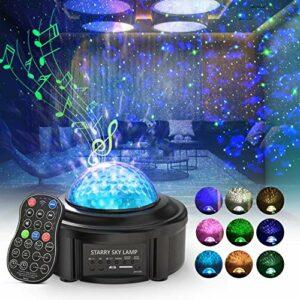 Lampe de Projection, Skybasic Veilleuse de Projecteur Etoile avec Télécommande et Minuterie, Projecteur ciel, Lecteur de Musique Bluetooth à Deux Haut-Parleurs, Décoration/Cadeau pour Noël/Halloween