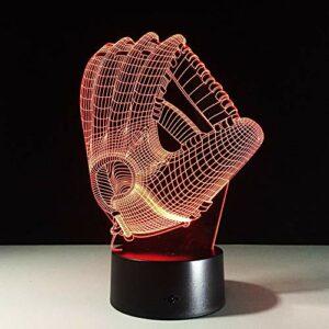 Leeypltm 3D LED Veilleuse,Gant de baseball 7 Couleurs Tactile Lampe de Chevet Chambre Table Art Déco Enfant Lumière de Nuit avec Câble USB Nouveauté De Noël Cadeau