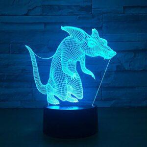 Leeypltm Veilleuse 3D Illusion Souris CouleursTactile Lampe de Chevet ChambreTable Art Déco Enfant Lumière de Nuit