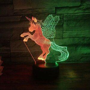 Licorne mignonne Hit couleur 3d veilleuse tactile interrupteur lampe de Table colorée pour enfants chambre décor éclairage cadeaux créatifs
