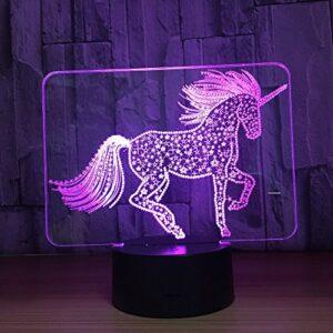 Licorne mignonne LED 3D Illusion veilleuse ABS Base tactile lampe de Table Usb lumière visuelle colorée maison Decora pour enfants jouet cadeau